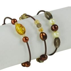 Pearls For You FW Pearl and Multi-gemstone 3-piece Bracelet Set