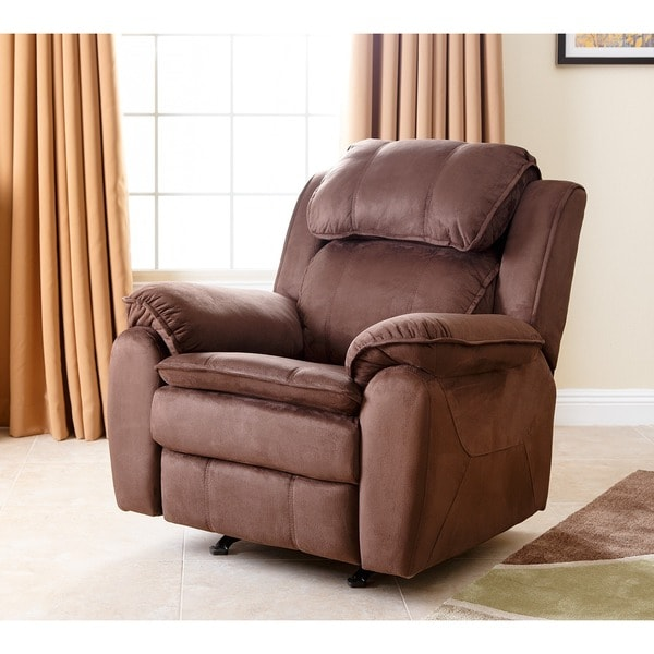 abbyson living harbor dark brown microsuede rocker recliner 13948560