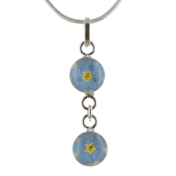 Sterling Silver Forget-Me-Not Flower Double Pendant Necklace (Mexico)