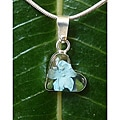 Sterling Silver Miniature Blue Flower Tiny Heart Necklace (Mexico)