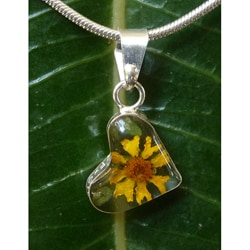 Sterling Silver Miniature Sunflower Tiny Heart Necklace (Mexico)