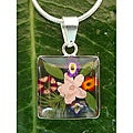 Sterling Silver Mini Flower Bouquet Square Necklace (Mexico)