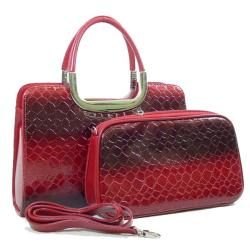 Dasein Patent Leatherette Snakeskin Embossed 2-in-1 Satchel Bag