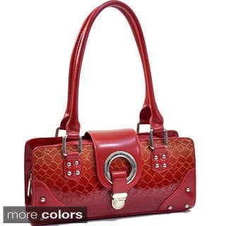 Dasein Patent Leatherette Snakeskin Shoulder Bag