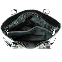 Snakeskin Embossed Side Buckle Shoulder Bag