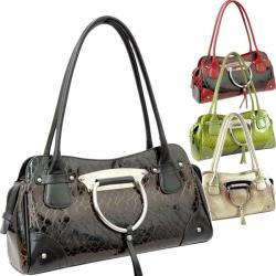 Black Dasein Snakeskin Embossed Patent Faux Leather Shoulder Bag