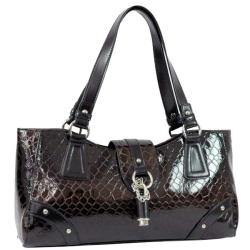 Dasein Snakeskin Embossed Patent Faux Leather Shoulder Bag with Flap-Over Top