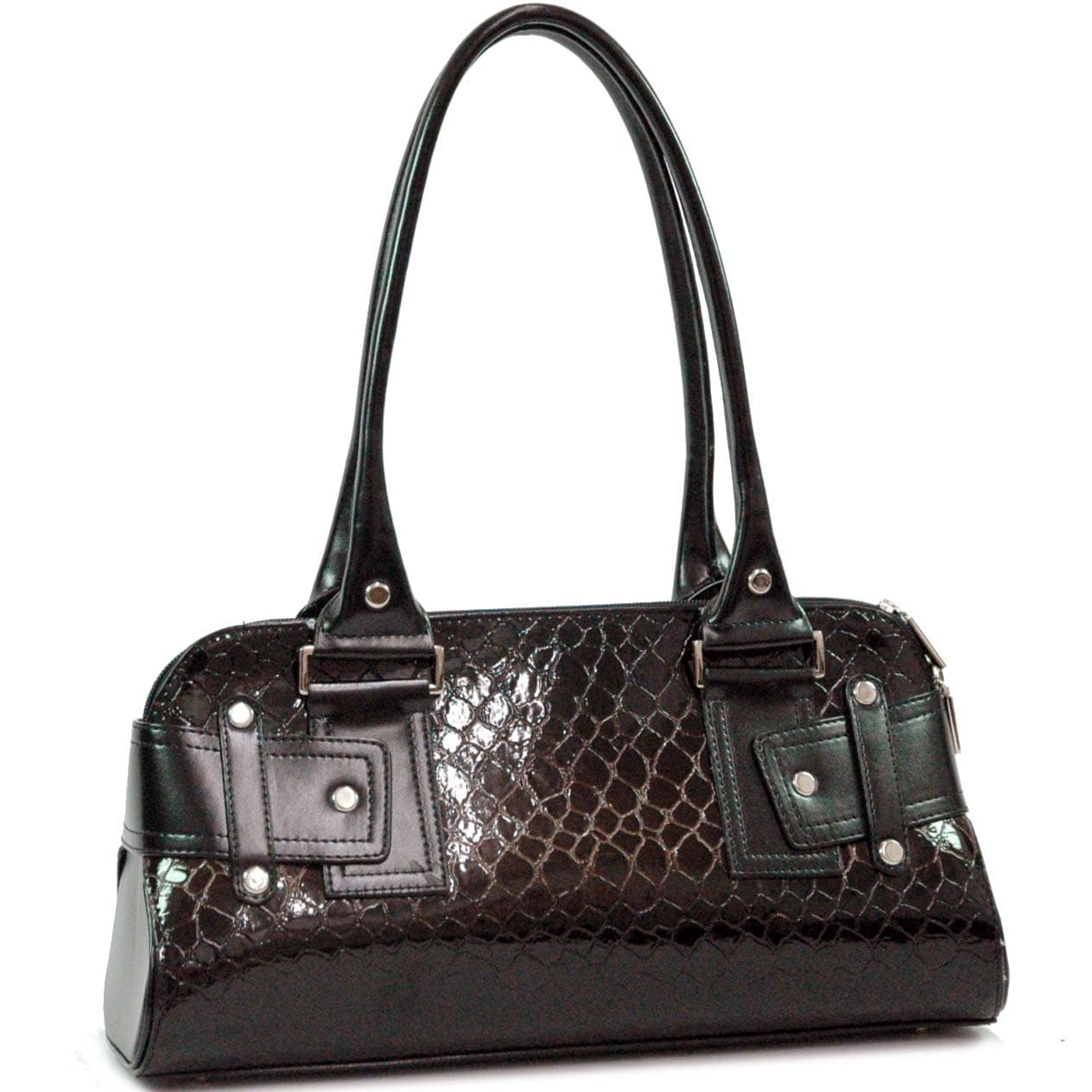 Dasein Snakeskin Embossed Patent Faux Leather Zipped Shoulder Bag