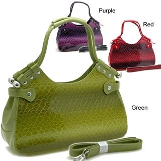 Green Dasein Snakeskin Embossed Patent Faux Leather Shoulder Bag