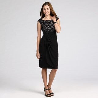 Connected Apparel Women's Black/ Ivory Lace Dress