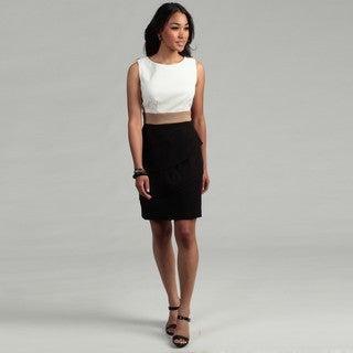 Connected Apparel Women's Ivory/ Dark Khaki/ Black Dress