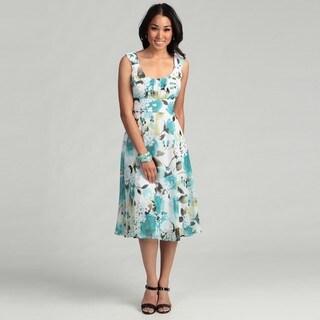 Connected Apparel Women's Aqua Floral Empire Dress FINAL SALE