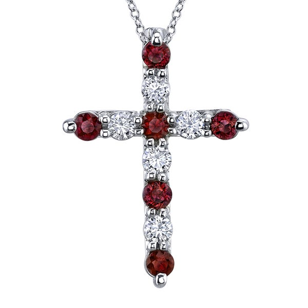 14k White Gold 1 1/2ct TDW Diamond and Ruby Necklace (H-I, SI2-SI3)