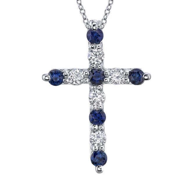 14k White Gold Sapphire and 1/5ct TDW Diamond Necklace (H-I, SI2)