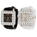 Geneva Platinum Women's Rhinestone-Accented Black or White Silicone Watch