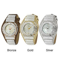Geneva Platinum Women's Rhinestone-accented Metallic Leather Watch