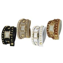 Geneva Platinum Women's Studded Traditional Wraparound Watch