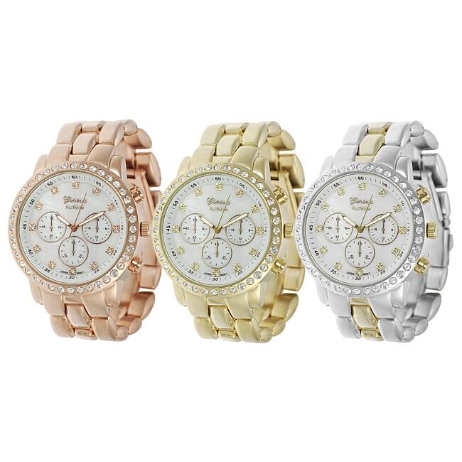Geneva Platinum Women's Rhinestone Decorative Chronograph Mineral Crystal Link Watch