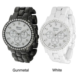 Geneva Platinum Women's Rhinestone Decorative Chronograph Link Watch