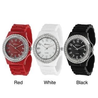 Geneva Platinum Women's Rhinestone-accented Silicone Cuff Watch