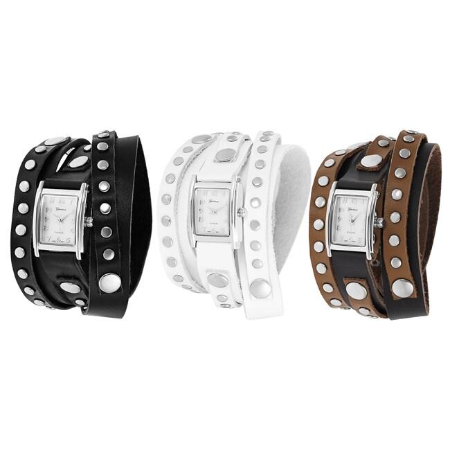 Geneva Platinum Women's Studded Wrap-around Watch