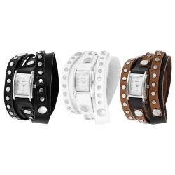 Geneva Platinum Women's Studded Wrap-around Watch