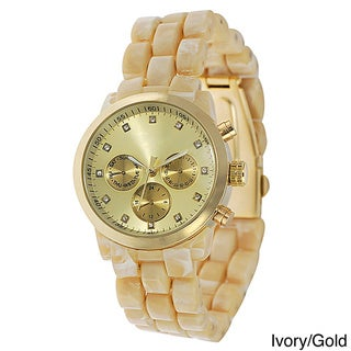 Geneva Platinum Women's Rhinestone Decorative Chronograph Link Watch with Tortoise Bracelet