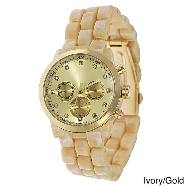 Geneva Platinum Women's Rhinestone Decorative Chronograph Link Watch with Tortoise Bracelet