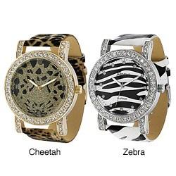 Geneva Platinum Women's Rhinestone Animal-print Watch