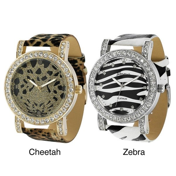 Geneva Platinum Women's Rhinestone Animal-print Watch