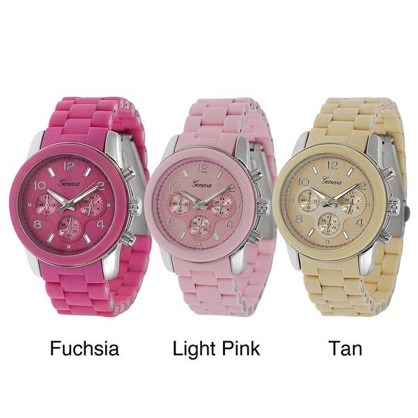 Geneva Platinum Women's Decorative Chronograph Link Watch