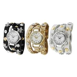 Geneva Platinum Women's Rhinestone Fleur de Lis Stud Wrap-around Watch