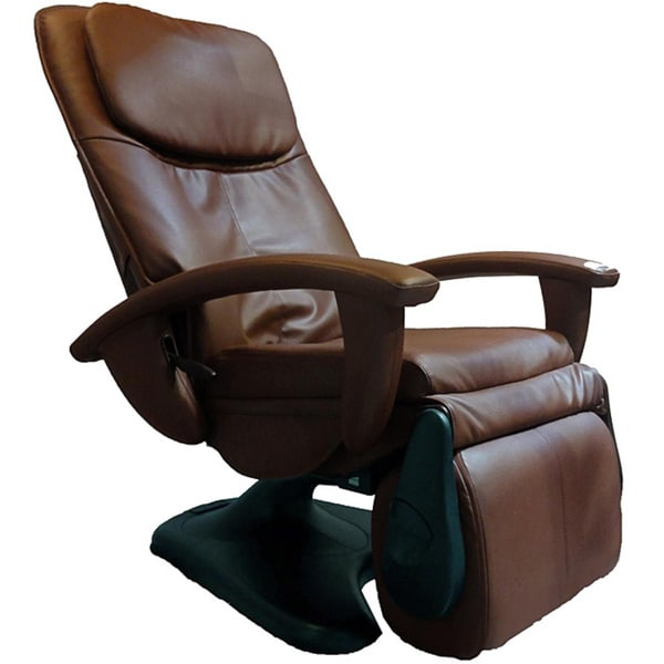 Chocolate Quad Roller Power Recline Human Touch Massage Chair (Refurbished)