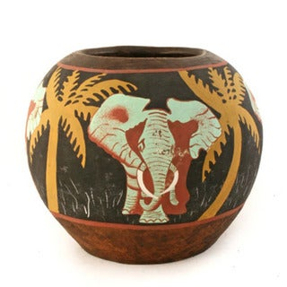Handmade Luo Tusker Elephant Ceramic Vase (Kenya)