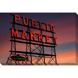 Pike Place Market Sign Oversized Gallery Wrapped Canvas