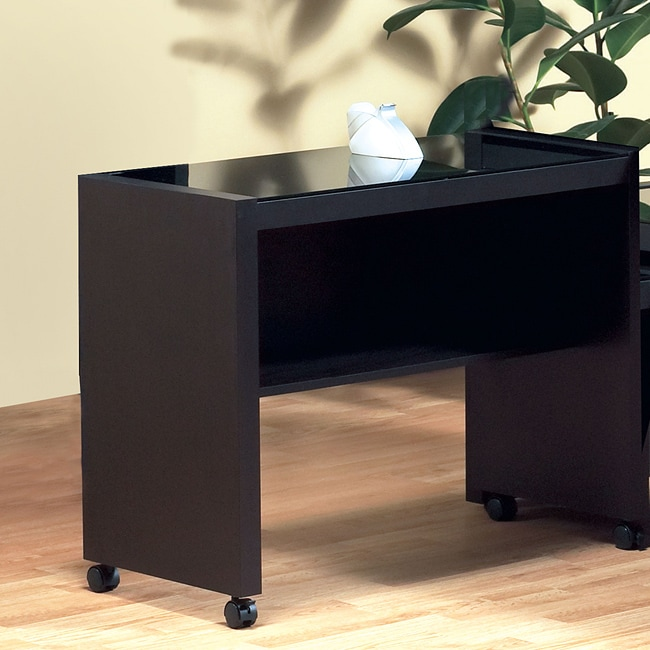 Cappuccino Hollow-core Tempered Glass Computer Cart