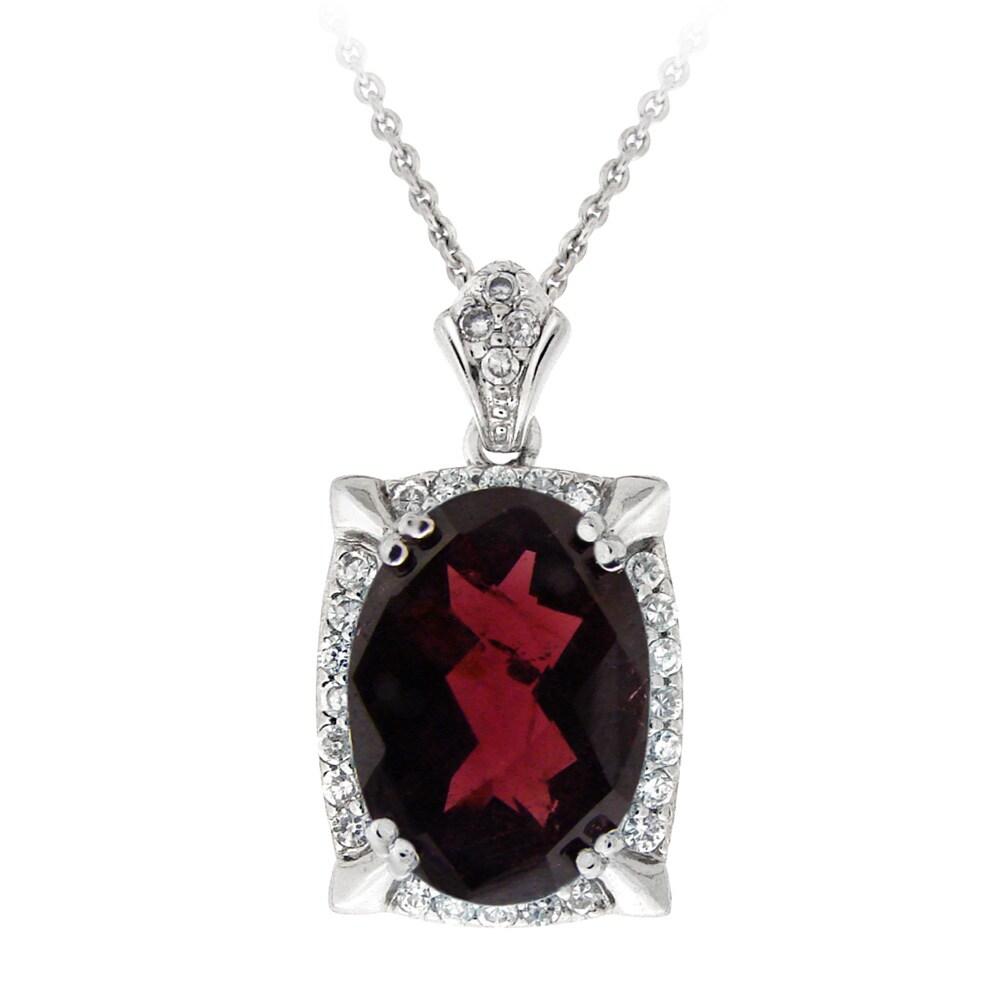 Glitzy Rocks Silvertone Garnet and Cubic Zirconia Necklace