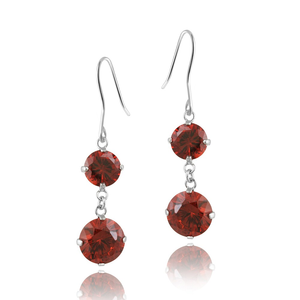 Icz Stonez Silvertone Red Cubic Zirconia Dangle Earrings