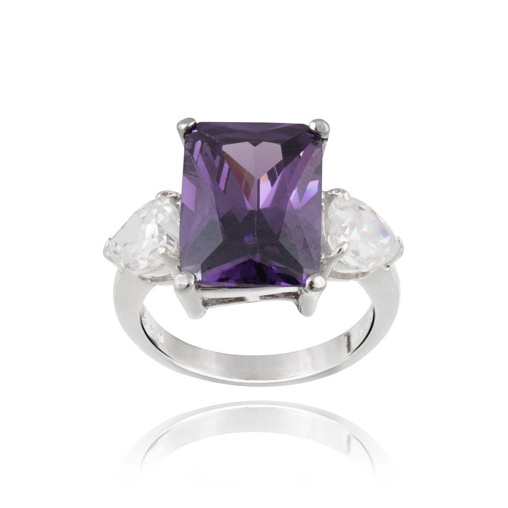 Icz Stonez Silvertone Cubic Zirconia Three-Stone Ring