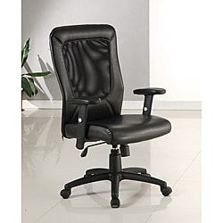 Black Leather-look Mesh-back Office Chair