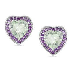 Miadora Sterling Silver 5 3/5ct TGW Multi-colored Amethyst Stud Earrings