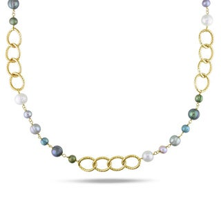 Miadora Multi-colored FW Pearl Oval Link Necklace (6-10 mm) with Bonus Earrings