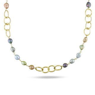 Miadora Multicolored FW Pearl Oval Link Necklace (7 -10 mm)