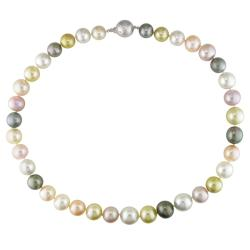 Miadora 14k White Gold Multicolored Pearl and Diamond Accent Necklace (10-12.7 mm)