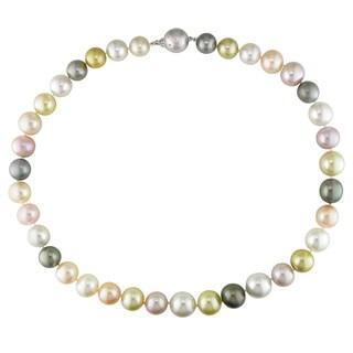 Miadora Signature Collection 14k White Gold Multicolored Pearl and Diamond Accent Necklace (10-12.7 mm)