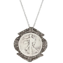 American Coin Treasures Silver Walking Liberty Half Dollar Marcasite Coin Pin/Pendant