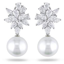 Miadora 18k White Gold 4 3/4ct TDW Diamond and Pearl Earrings (G-H,SI1-SI2)