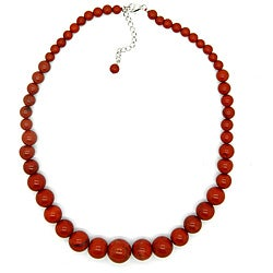 Pearlz Ocean Sterling Silver Red Jasper Journey Necklace