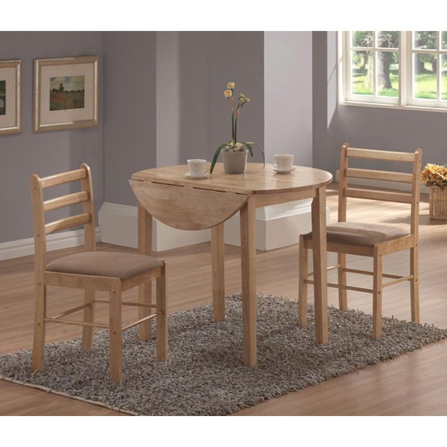 Natural 3 piece dinette set dining table room chairs piece for Kitchen set new leaf