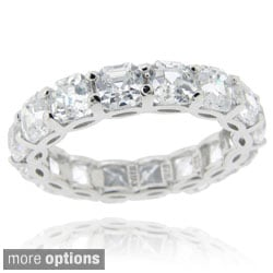 Icz Stonez Sterling Silver Asscher-cut Cubic Zirconia Eternity Ring (9.24ct TGW)